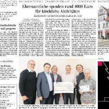 Thumbnail for Ehrenamtliche spenden rund 4000 Euro für kirchliche Aktivitäten